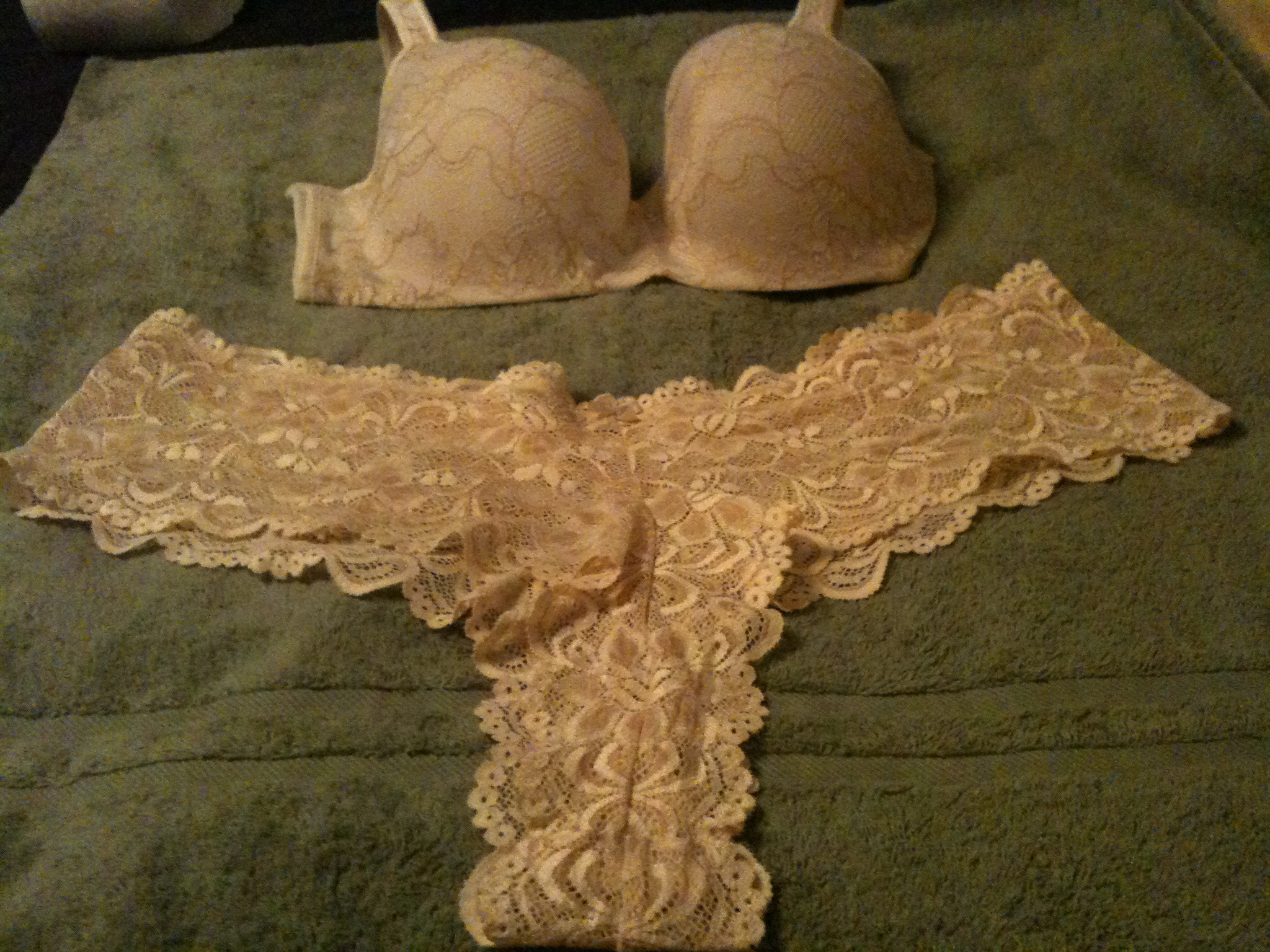 Beige lace bra and lace tanga panties by Cacique